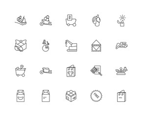 Collection of 20 Packing and Delivery linear icons such as Shopp