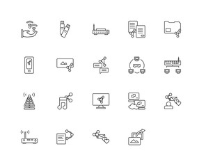 Collection of 20 networking linear icons such as Router, Share,