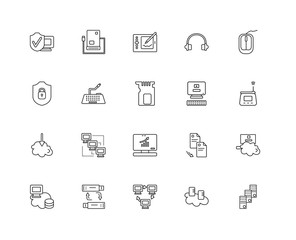 Collection of 20 networking linear icons such as Download, Mainf