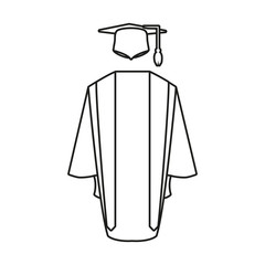 hat with gown graduation icon