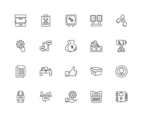 Collection of 20 Modern business linear icons such as Analytics,