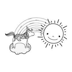 cute fairytale unicorn with rainbow and sun