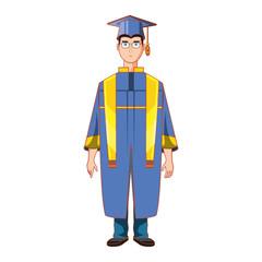 young man graduated avatar character