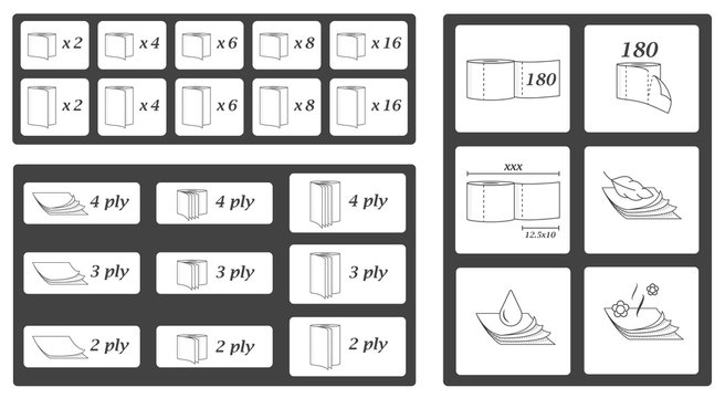 Toilet paper parameters icons and symbols set. Vector illustration pack.