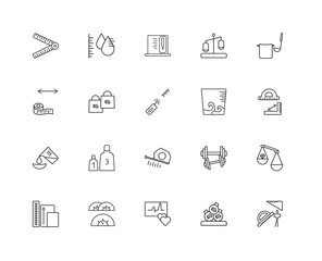 Collection of 20 Measurement linear icons such as Square Measume