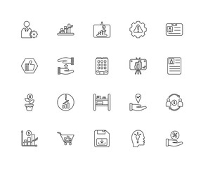 Collection of 20 Marketing linear icons such as Invest, Offer, P