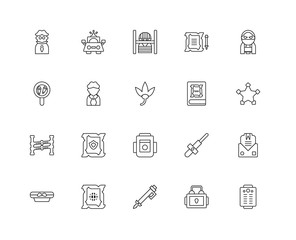 Collection of 20 law and justice linear icons such as Police lin