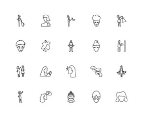 Collection of 20 Ladies linear icons such as Women Stressed, Tre