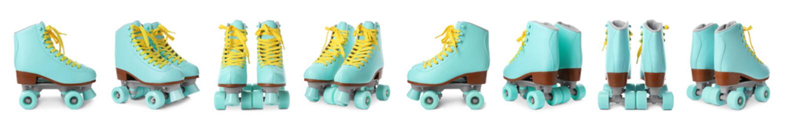 Set with stylish roller skates on white background