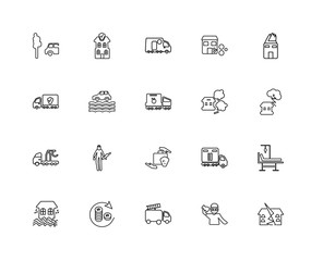Collection of 20 insurance linear icons such as Tow truck, Earth