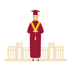 young woman graduated with building university