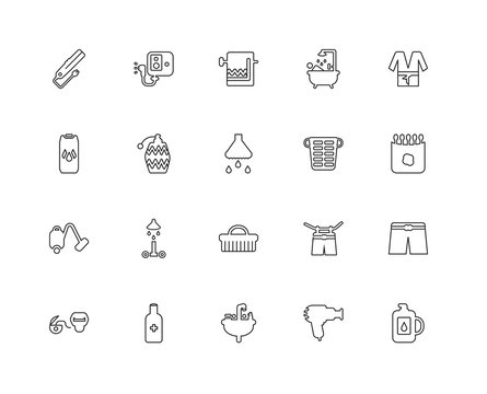 Collection of 20 Hygiene linear icons such as Vacuum, Detergent,