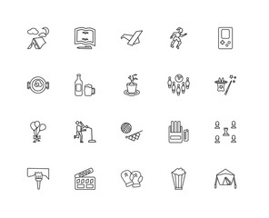 Collection of 20 hobbies linear icons such as Balloons, Camping