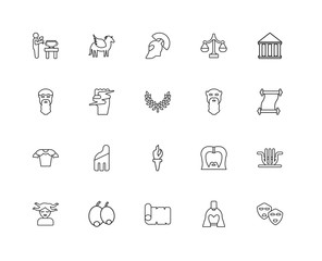 Collection of 20 Greece linear icons such as Armor, Theatre, Hel