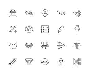 Collection of 20 Greece linear icons such as Pegasus, Pattern, V