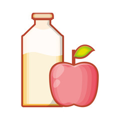 bottle of juice with apple isolated icon