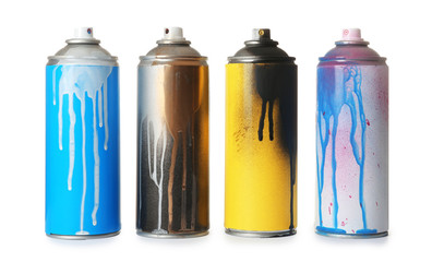 Keuken foto achterwand Graffiti Used cans of spray paint on white background