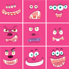 Set of pink expressions