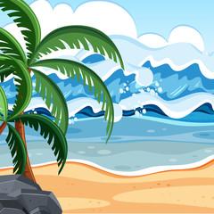 Flat summer beach landscape