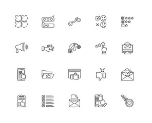 Collection of 20 feedback linear icons such as Like, Search, Fee