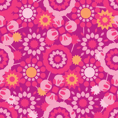 9fa3e98081b69 Retro Flowers All Over Print Vector. Colorful Tossed Blooms Seamless  Repeating Pattern in 1970 s Style