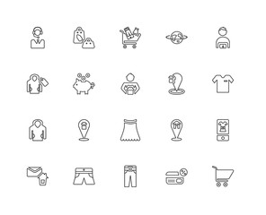 Collection of 20 Fashion and Commerce linear icons such as Hoodi