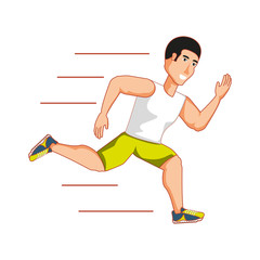 young athletic man running avatar character