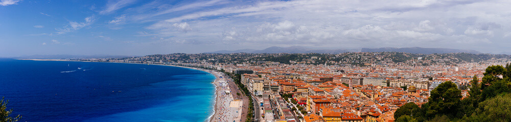 Foto op Canvas Nice Panorama of the old town of Nice, France, next to Promenade des Anglais, by the blue sea