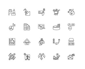 Collection of 20 economy and finance linear icons such as Line c