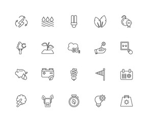 Collection of 20 Ecology linear icons such as Save water, Eco ba