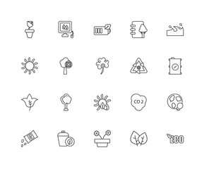 Collection of 20 Ecology linear icons such as Leaves, Eco, World
