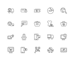 Collection of 20 ecommerce linear icons such as Online shop, Lap