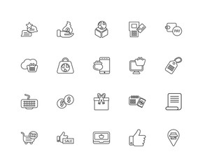 Collection of 20 ecommerce linear icons such as Keyboard, Placeh