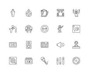 Collection of 20 discotheque linear icons such as Next, Vinyl, E