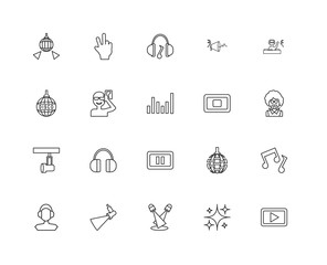 Collection of 20 discotheque linear icons such as Spotlight, Pla