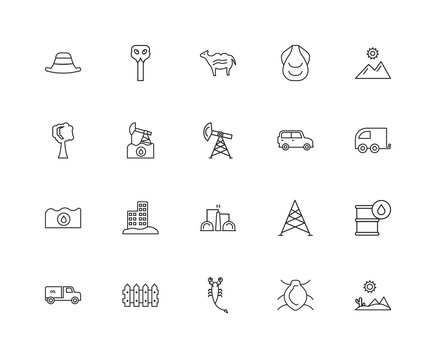 Collection of 20 desert linear icons such as Petroleum, Desert,
