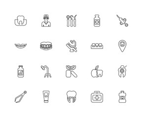 Collection of 20 dentist linear icons such as Medicine, Mouthwas