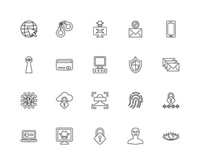 Collection of 20 Cyber linear icons such as Data, Biometric reco