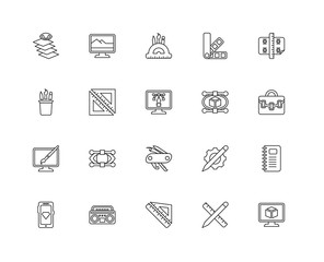 Collection of 20 Creative pocess linear icons such as De, Monito