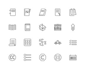 Collection of 20 content linear icons such as Newspaper, Next we