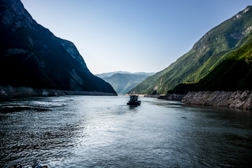 Small Work Boat on the Yangtze River in China