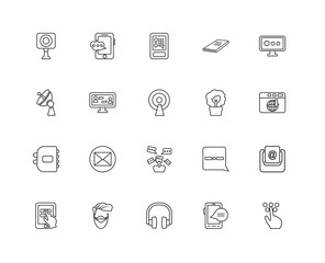 Collection of 20 Communication linear icons such as Agenda, Brai