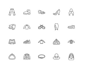 Collection of 20 Clothes linear icons such as Bag, Men Hat, Jers