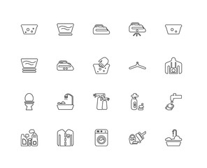 Collection of 20 Cleaning linear icons such as Toilet, Bathtub,