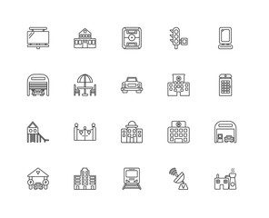Collection of 20 city elements linear icons such as Slide, Facto