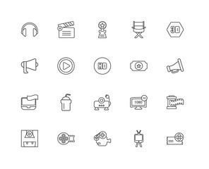 Collection of 20 Cinema linear icons such as Cinema, Television