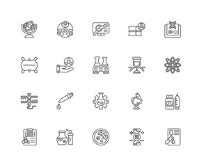 Collection of 20 chemistry linear icons such as Reproduction, Bl