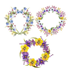 3 Romantic cute wreath of flowers with green branches. Watercolor illustration on white isolated background.