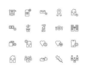 Collection of 20 charity linear icons such as Clean Water, Vacci
