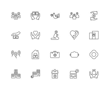 Collection of 20 charity linear icons such as Reforestation, App